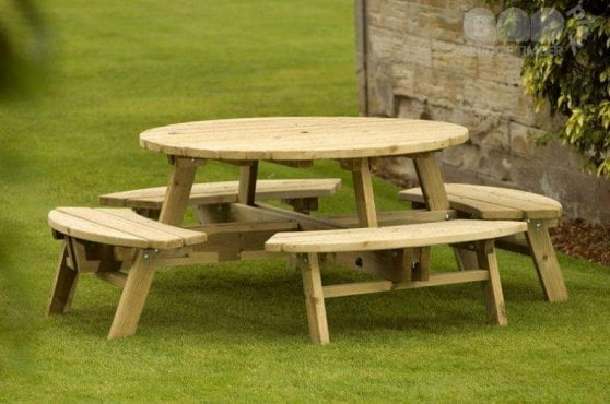 Round Picnic Table and Picnic Bench Set